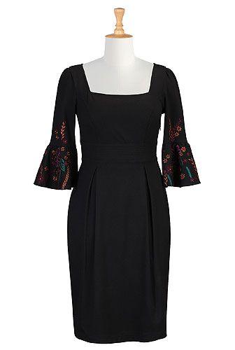 Embellished sleeves, Ruffle cuffs ponte knit dress from eShakti