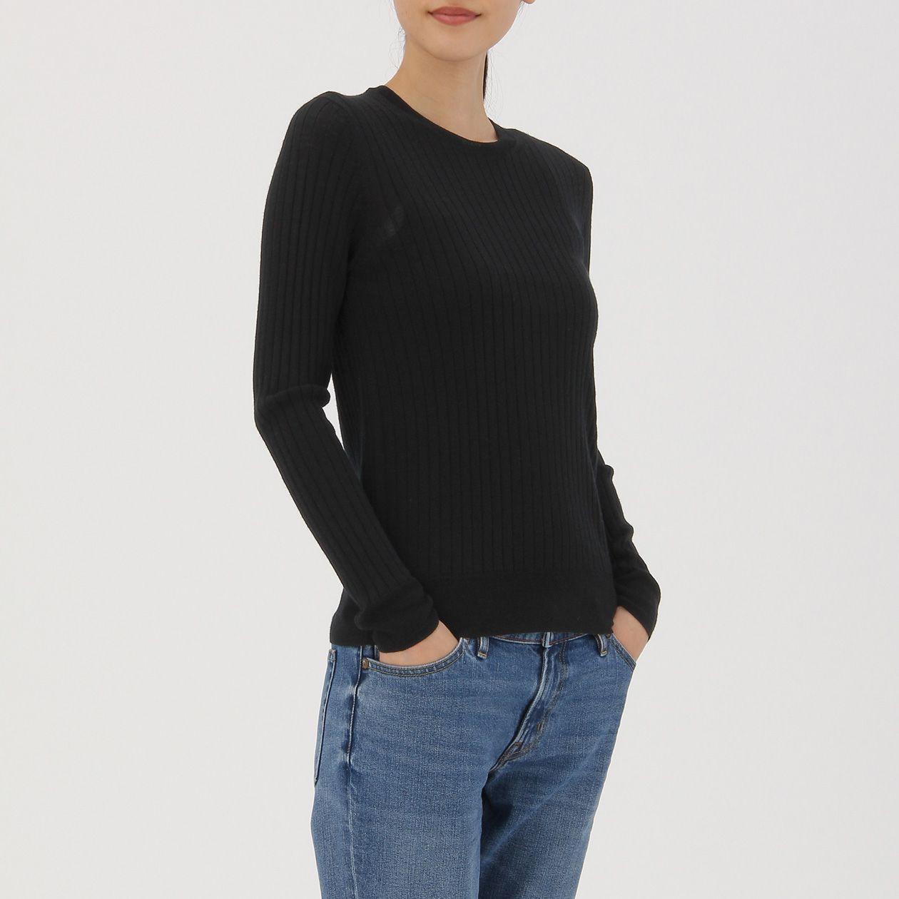 ウールシルク洗えるワイドリブクルーネックセーター 婦人XS・黒 | 無印良品ネットストア