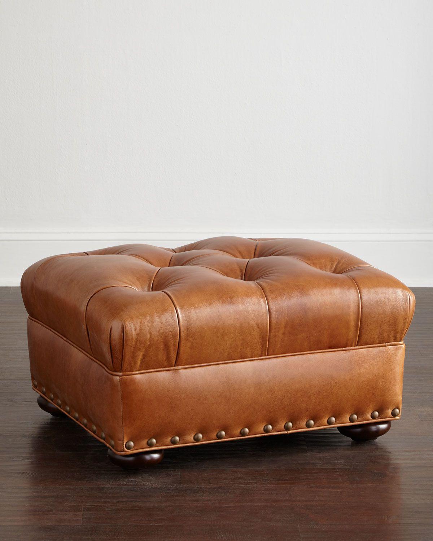 lansbury tufted leather ottoman