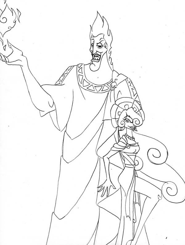 The King Of Underworld Hades And Megara Coloring Page Netart In 2020 Coloring Pages Cartoon Coloring Pages Greek Gods