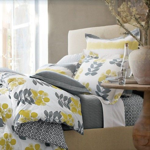 gray and yellow bedding visit my blog for more inspiration