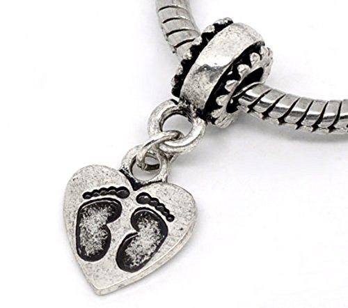 Footprint Heart New Baby Shower Gift Dangle Charm for European Bead Bracelets Fashion Jewelry for Women Man