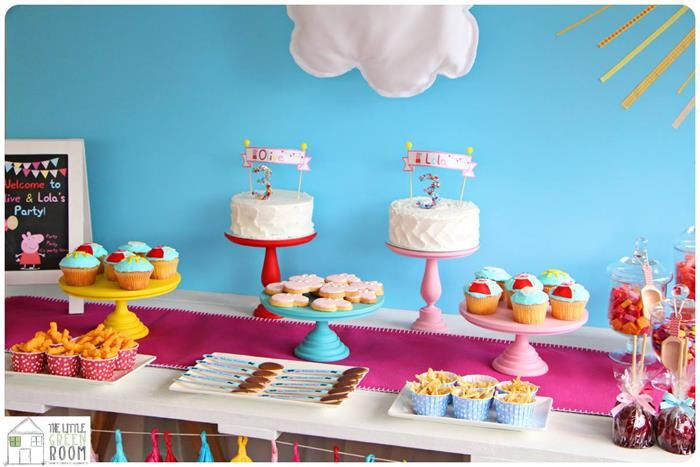 Peppa Pig Twins Birthday Party Planning Ideas Supplies Idea Decor Cake