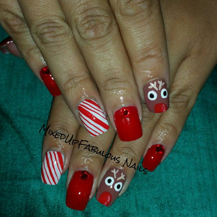 Rudolph & candy cane nail art @mixedupfab_nails