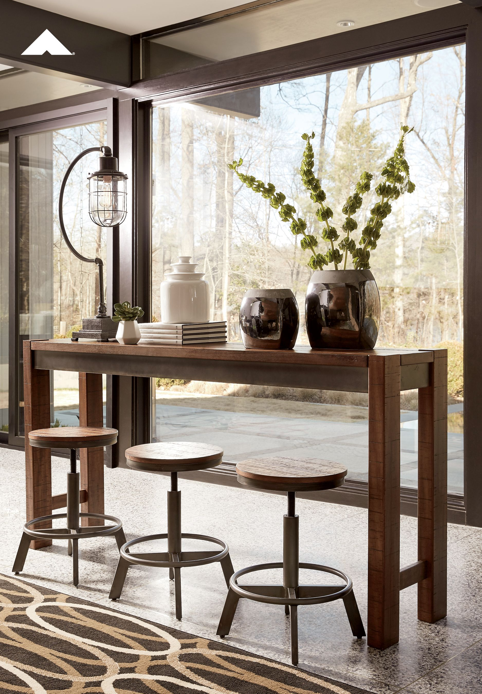 Torjin Long Counter Table And Stools Make Your Home The Hub For Cool Vibes With This Long Counter Tabl Counter Height Dining Table Pub Table Dining Room Sets