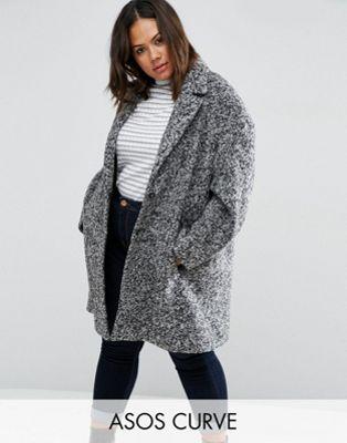 0974b85e0b4 ASOS CURVE Coat In Cocoon Texture