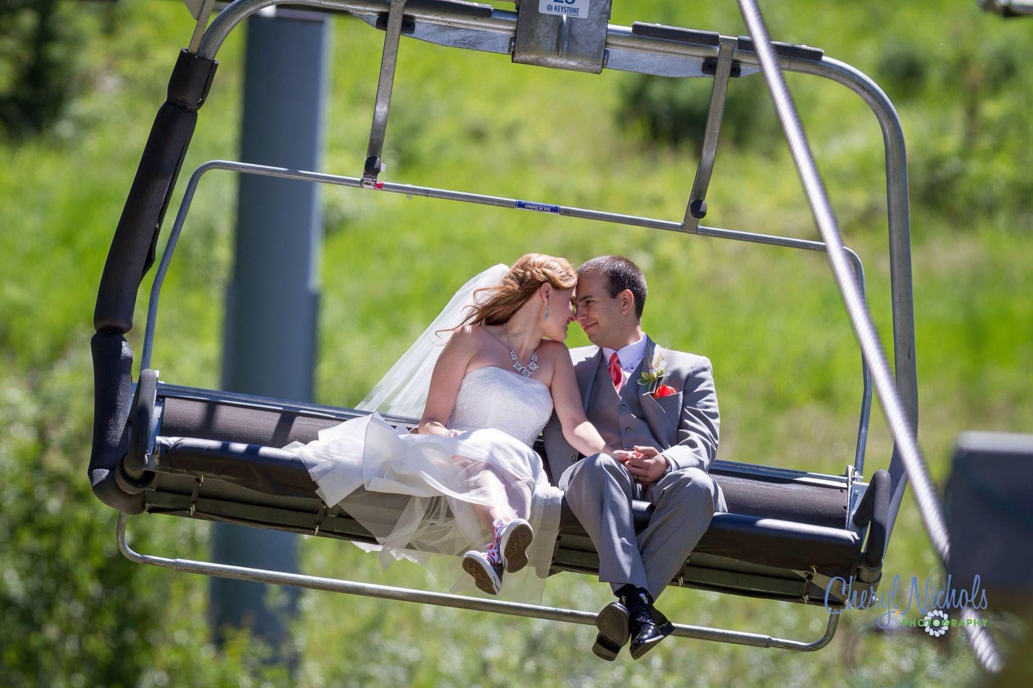 Wedding photo   mountain   ski resort   Colorado   chairlift   bride   groom   Cheryl Nichols Photography. http://cherylnicholsphotography.com