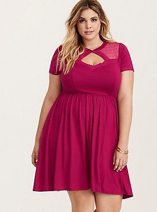 5582206509 Plus Size Rose Dot Mesh Skater Dress