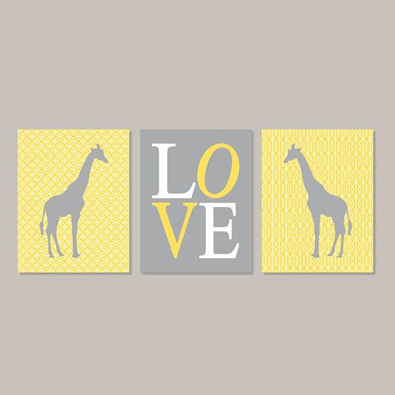 Giraffe Nursery Wall Art Yellow Gray Nursery Art Set Of 3 Prints Or ...