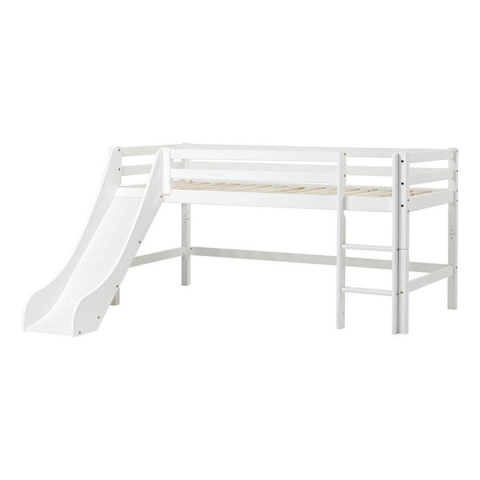 Basic Low Loft Bed with Ladder 70x160 cm White Low loft