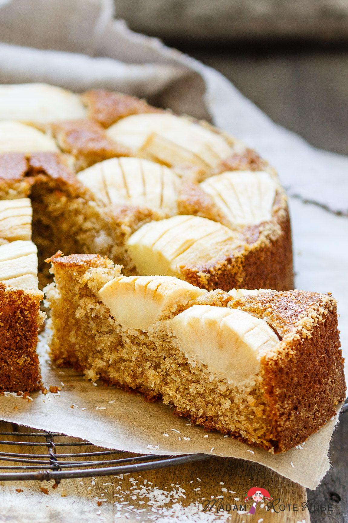 Einfacher Apfel-Kokos-Kuchen mit Dinkelvollkornmehl