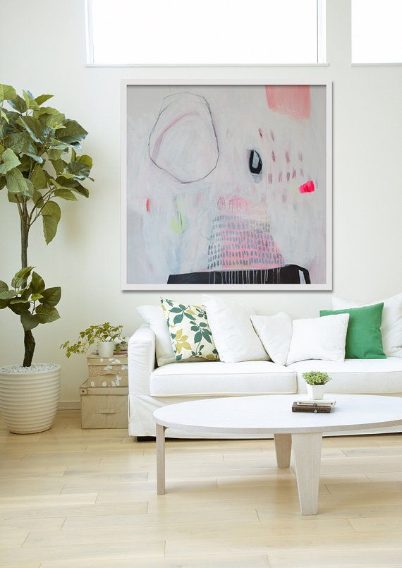 "GICLEE print, WHITE abstract painting with pink, Modern painting ""Lock RIng Series ii"""