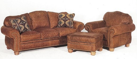 Rustic Leather Sofa Set Tight Back Distressed Armchair And Ottoman Home Staging Couch