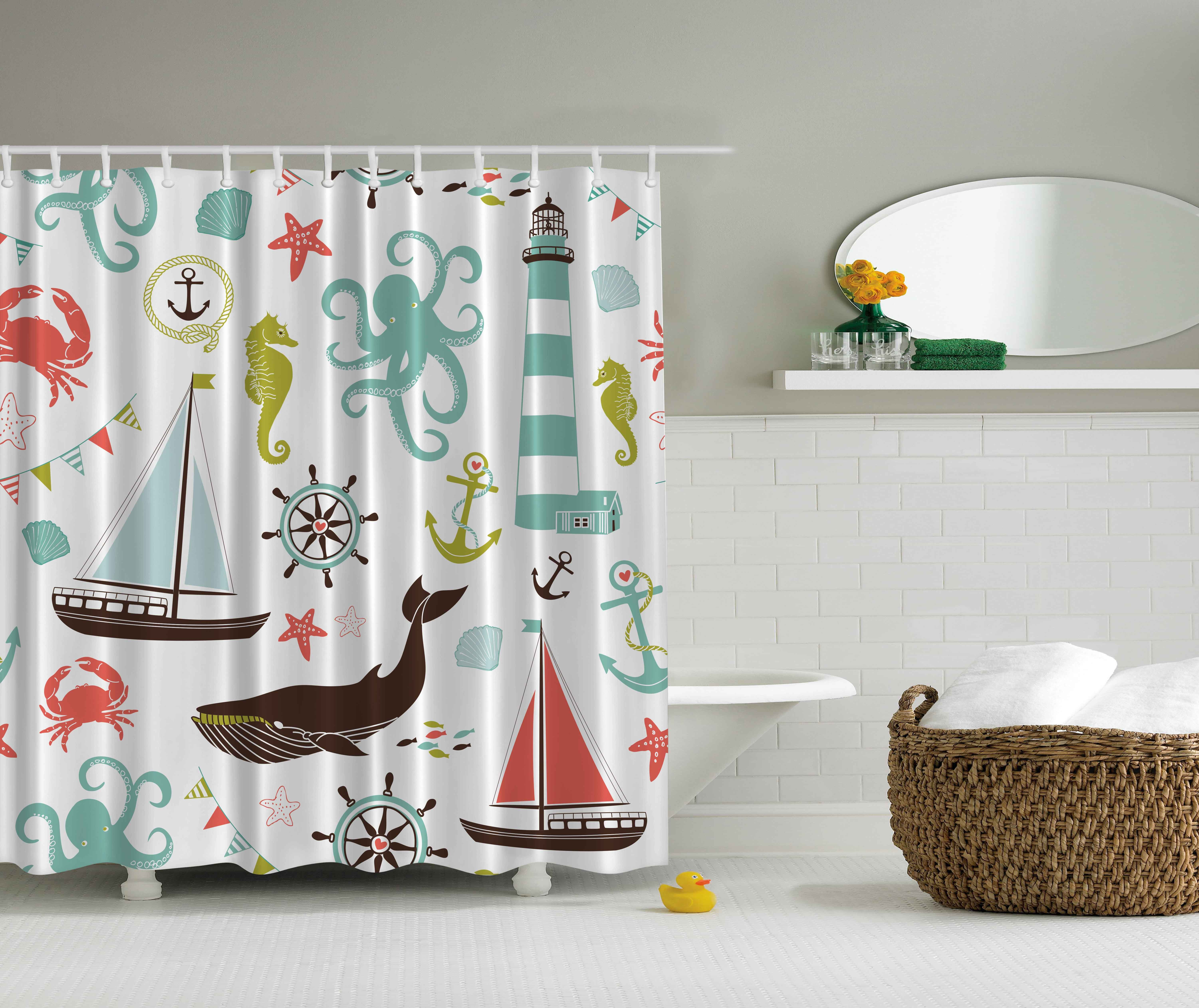 Ambesonne Nautical Decor Collection Sailing Boat Octopus Seahorse