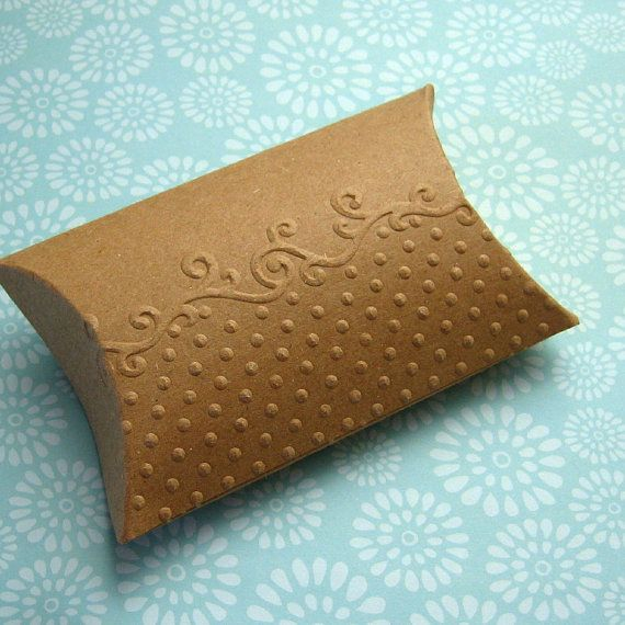 10 Kraft Pillow Boxes Embossed Dots and Scrolls 3.25 x 3 x 1 inches