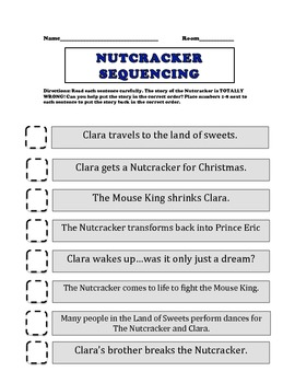 graphic relating to Nutcracker Worksheets Printable called The Nutcracker Sequencing Worksheet Nutcracker