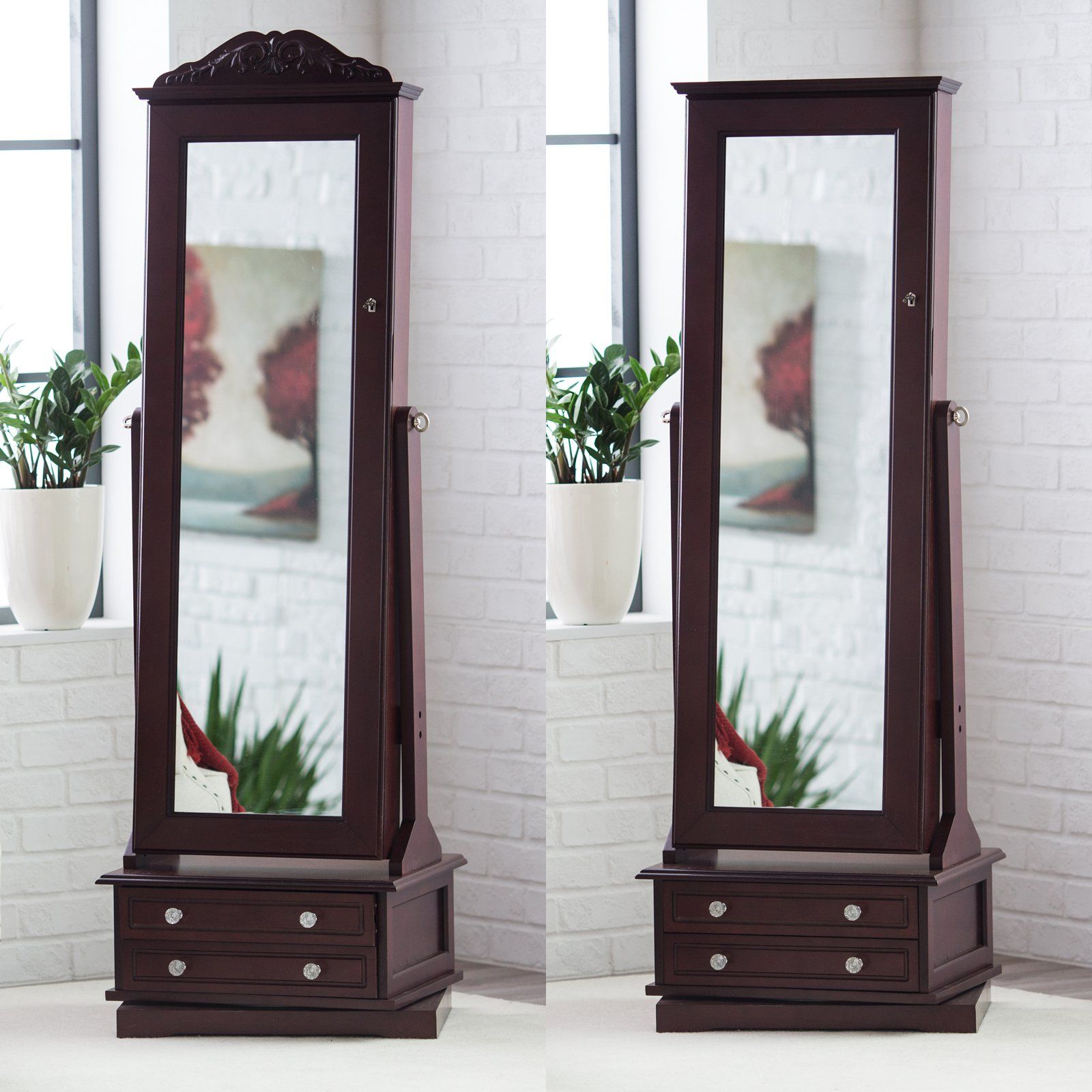 Belham Living Swivel Cheval Mirror Jewelry Armoire from hayneedle