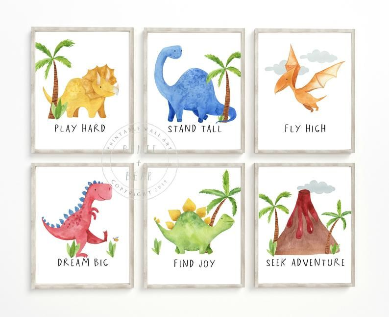 Dinosaur Nursery Prints, Dinosaur Nursery Decor, Nursery Print, Baby Shower Gift, Printable Wall Art, Digital Download