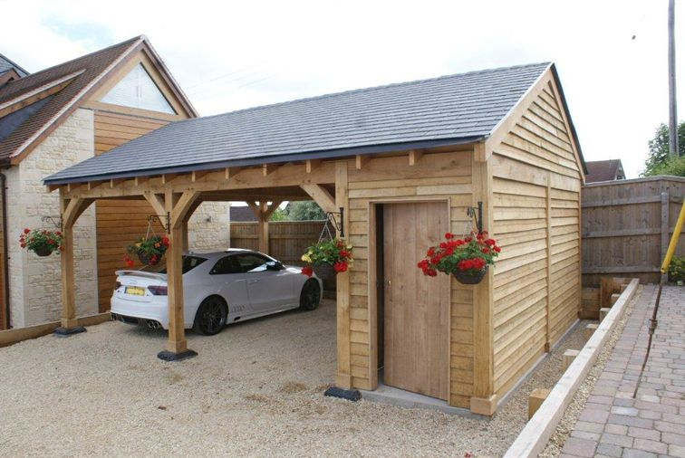 Oak double bay garage with side store decorating ideas for Garage with carport designs