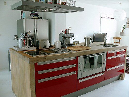 Kitchen Island Stove love the red, wood and stainless combinationi'd go crazy with