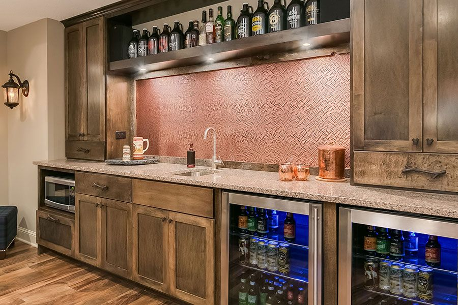 Basement Wet Bar Backsplash Copper With Images Basement Bar