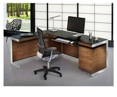 BDIu0027s Sequel 6001 Office Desk In Walnut And Black #office #furniture #desk
