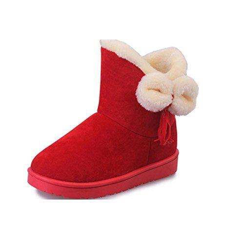 Women's Winter Boots Egmy Bowknot Warm Women Flats Shoes Snow Boots Winter Shoes