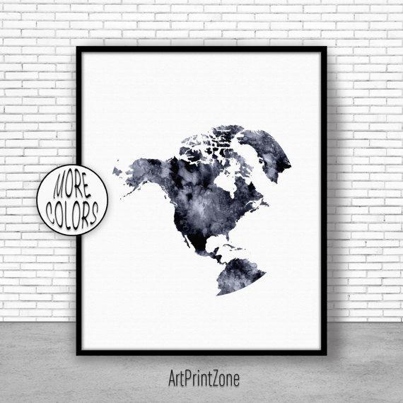 Globe Art, North America Map, North America Print, Globe Print ...