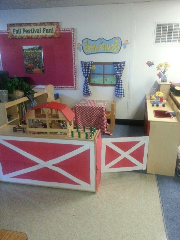 dramatic play area farm house preschool fall farm