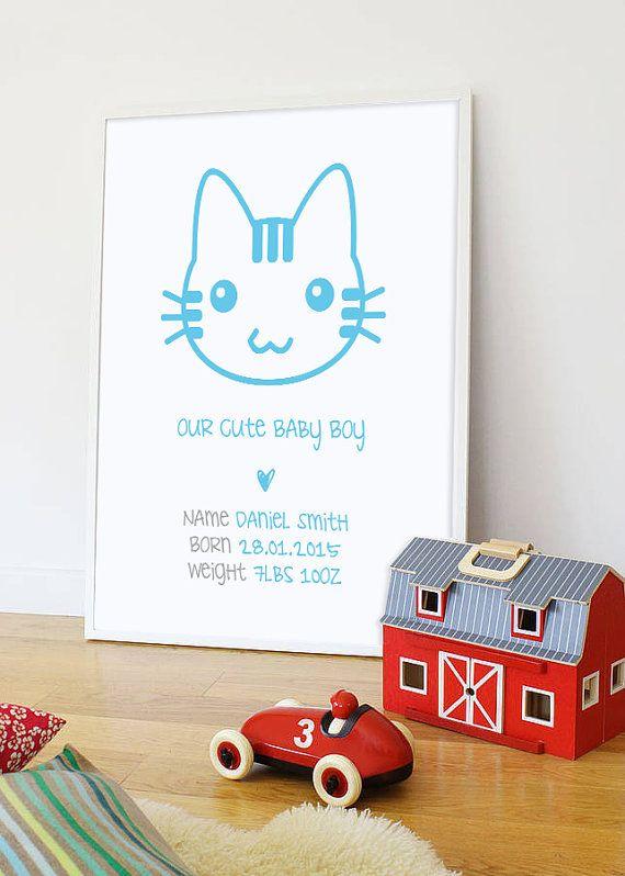 Personalized nursery art baby kitty print nursery by AnnetteKirton