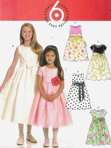 GIRL\'S SUMMER / BRIDESMAIDS DRESS EASY SEWING PATTERN 3 - 6 McCALL\'S ...