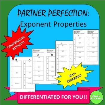 Exponent Properties Partner Perfection: This is a set of worksheets ...