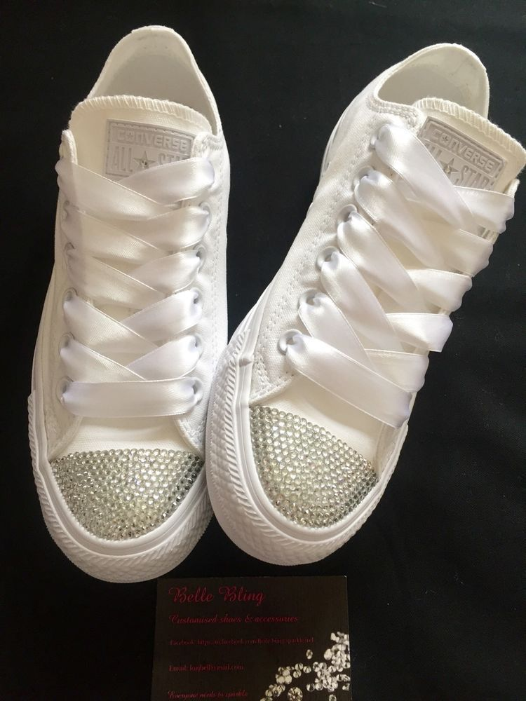 3038ce5bd8fd58 Wedding Bridal Converse Trainers Mono White Bling Personalised 3 4 5 6 7 8  9 in Clothes