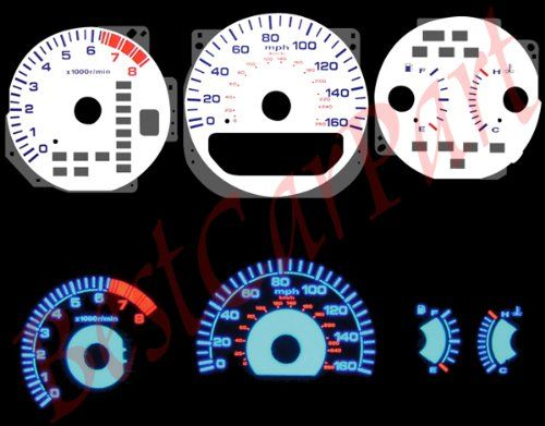 99 03 Acura TL V6 WHITE REVERSE GLOW EL GAUGES
