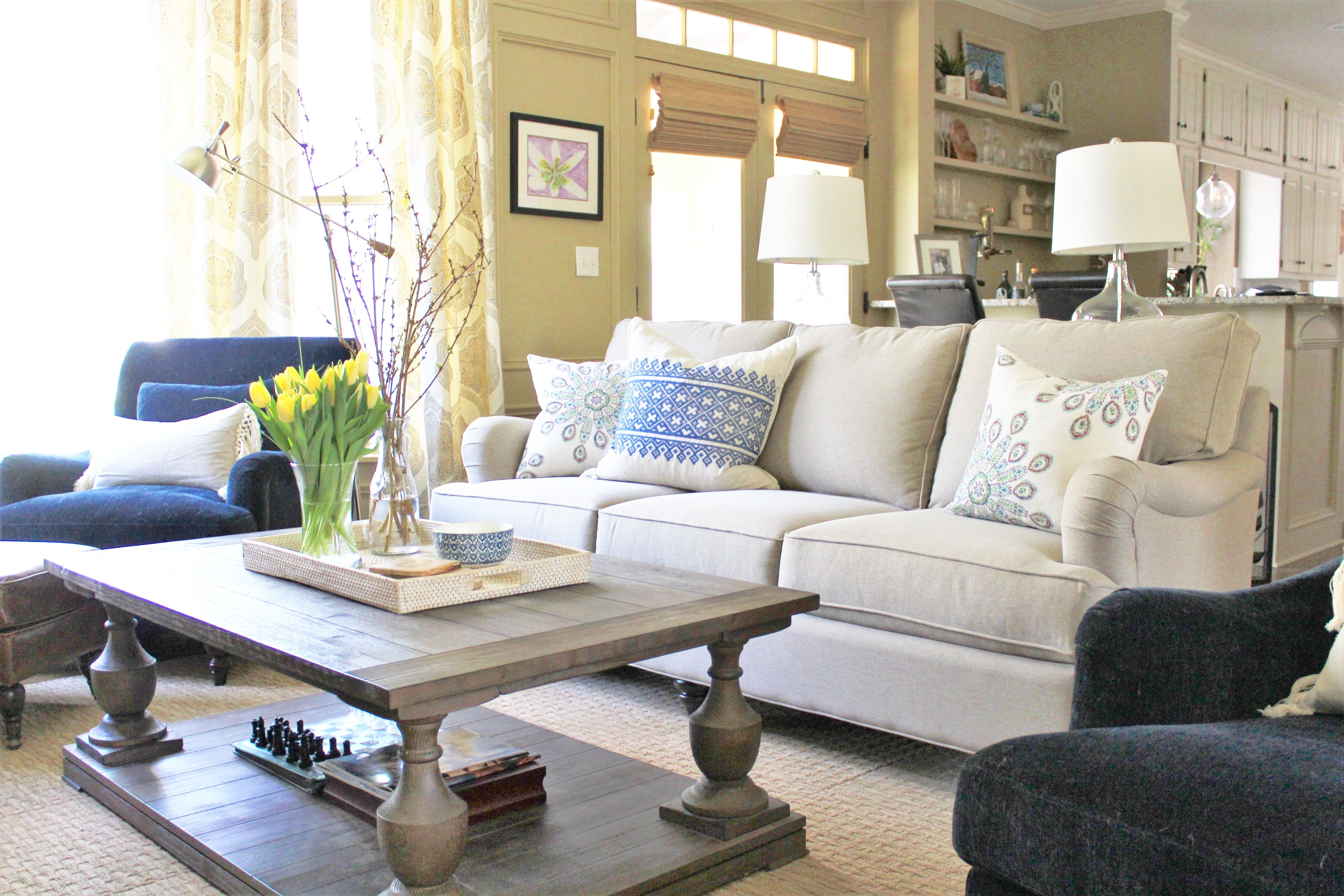 Traditional Classic Navy And Yellow Family Living Room Decor Simple Family Living Rooms Decoration 2018