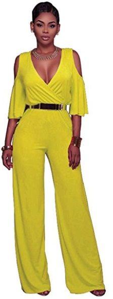 colgante Cumplir Valle  vestido enterizo pantalón amarillo   Fashion, Dresses, Women