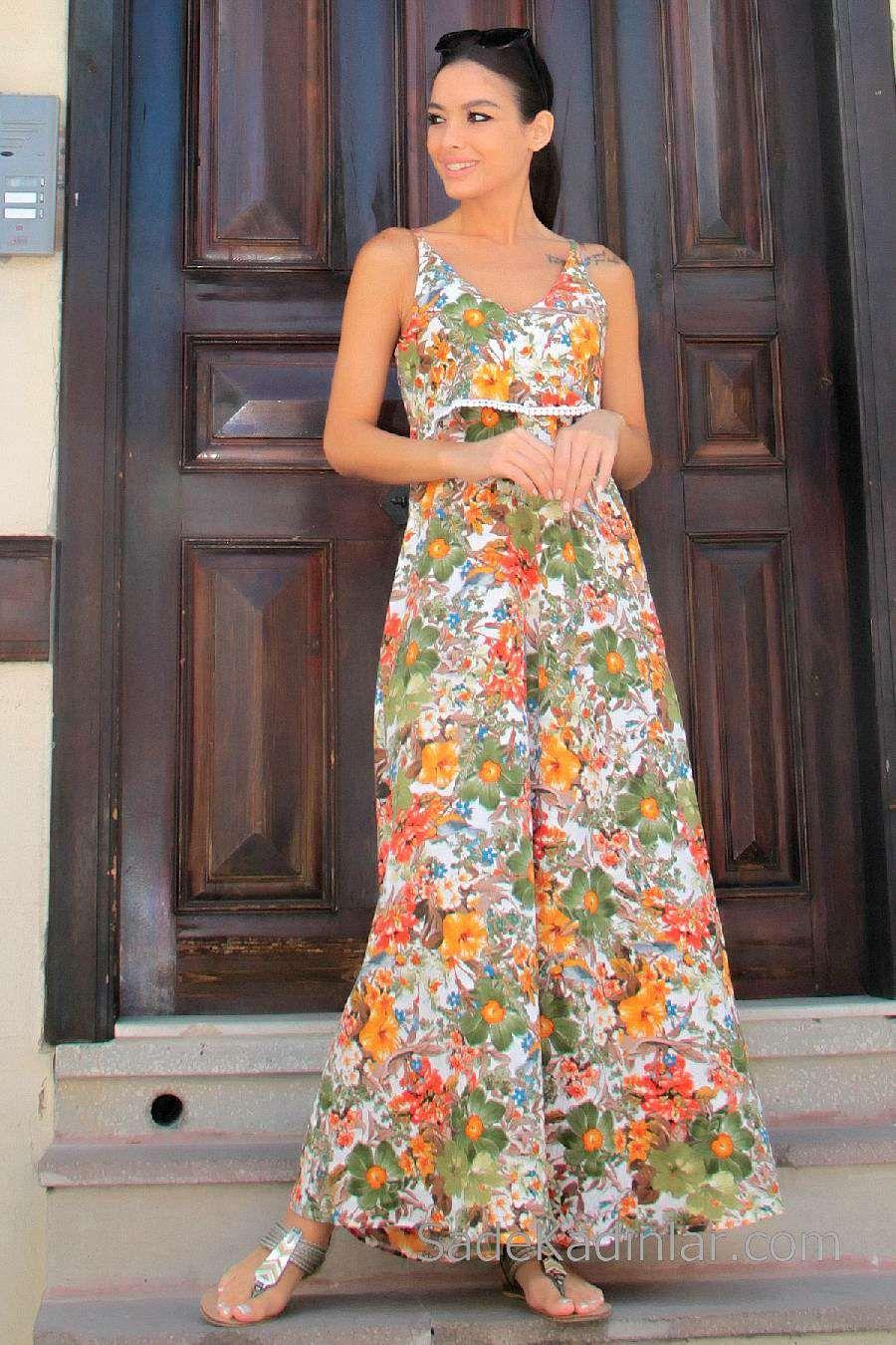2020 Gunluk Elbise Modelleri Turuncu Uzun Askili Cicek Desenli Elbise Modelleri Elbise Moda Stilleri