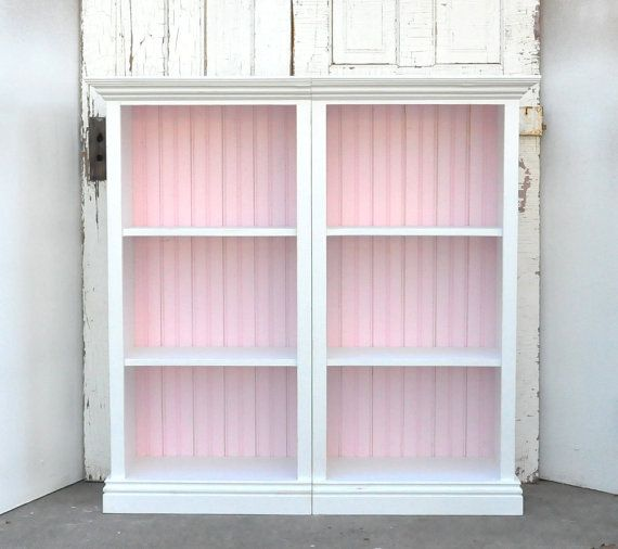Bookcase Unit Distressed White And Baby Pink By AlyandCompanyToo On Etsy