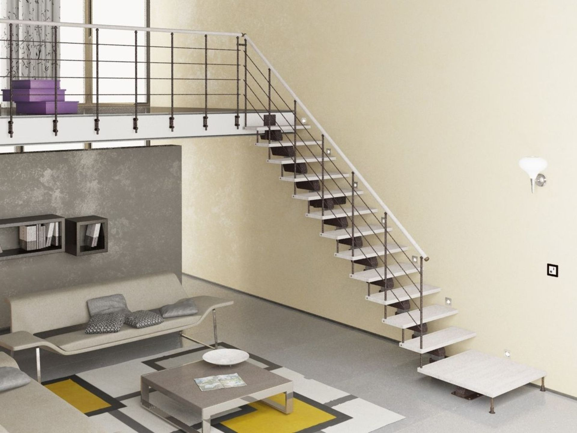 Magnificent Floating Stairs For Your Interior Design And Decor Ideas:  Marvellous White Metal Straight Floating