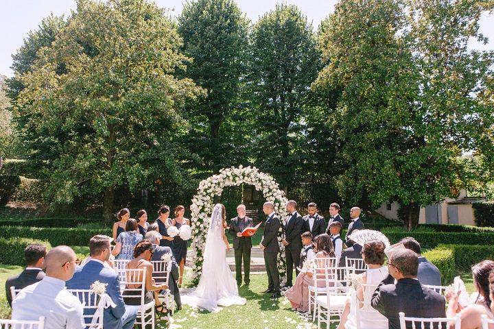 Garden wedding ceremony for a Breathtaking Fairytale Venice Wedding + Steven Khalil wedding dress | itakeyou.co.uk #wedding #venicewedding #destinationwedding #elegantwedding #white #goldwedding #fairytalewedding