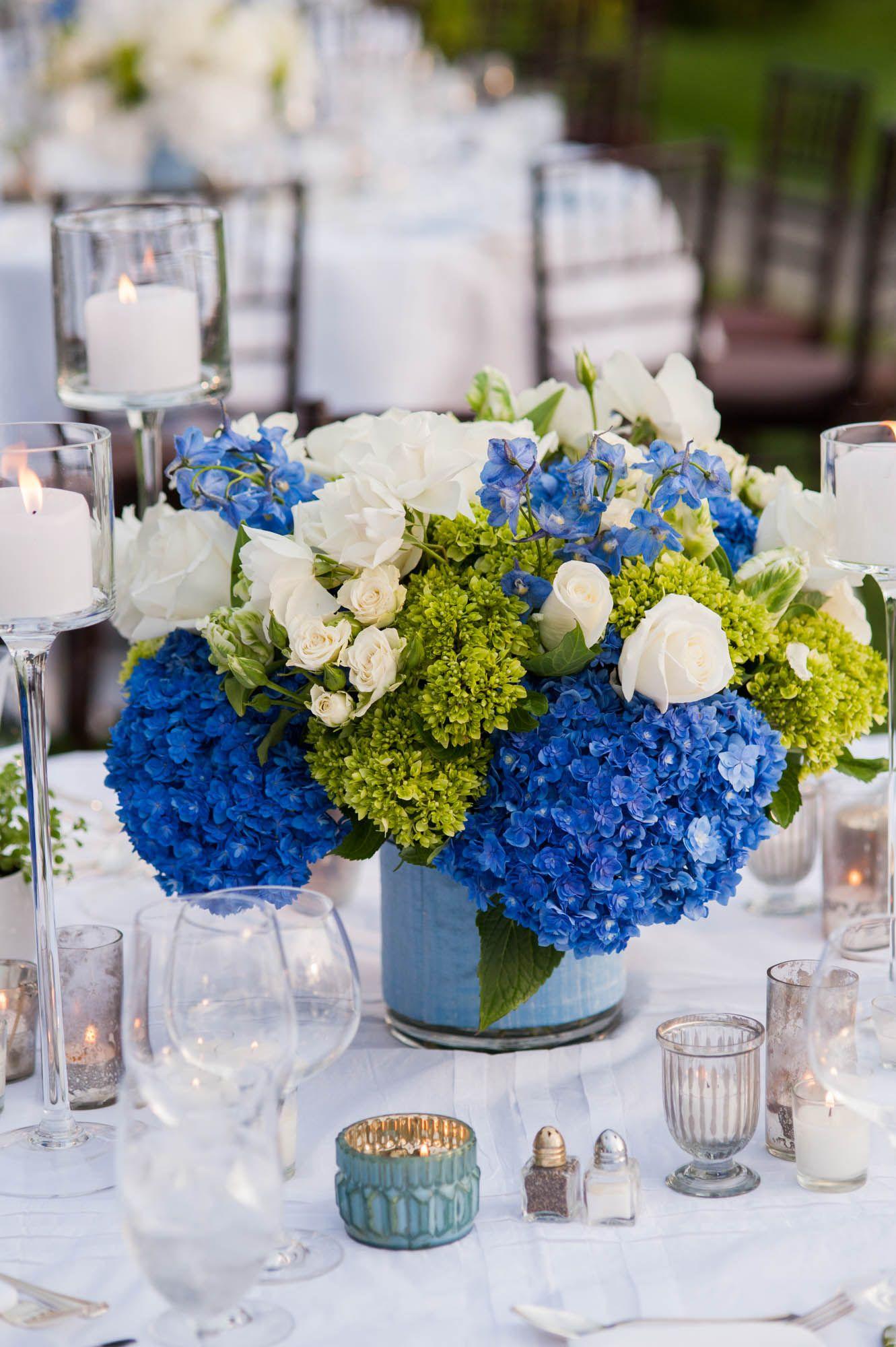 Wedding decorations in uganda  Brilliant Blue and Green Hydrangea Centerpieces  shower  Pinterest