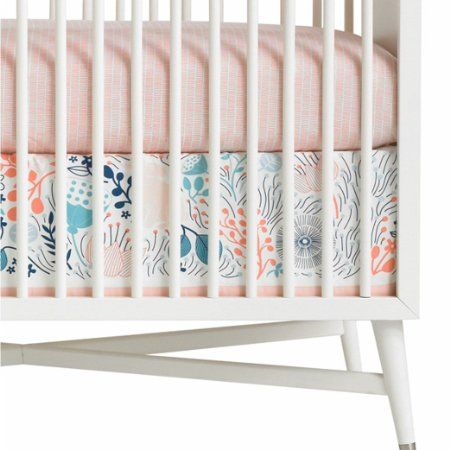 Love the print/colors...DwellStudio Meadow Powder Canvas Crib Skirt, Pink, White: Baby