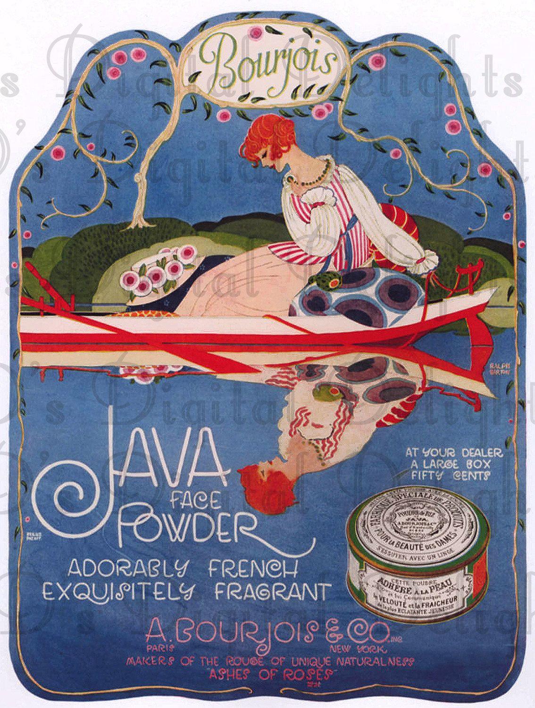 Splendida etichetta in polvere Java! Immagine Flapper Art Deco! ILLUSTRAZIONE digitale Art Déco VINTAGE. Stampa digitale