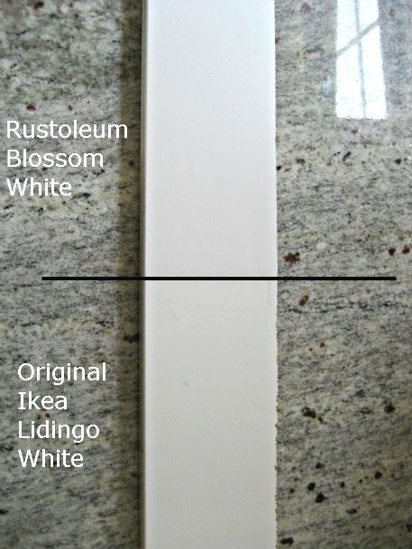 rustoleum blossom white paint with ikea lidingo cabinets ...