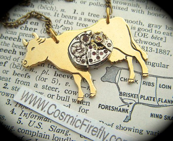 Steampunk Necklace Gold Cow Necklace Small by CosmicFirefly, $55.00