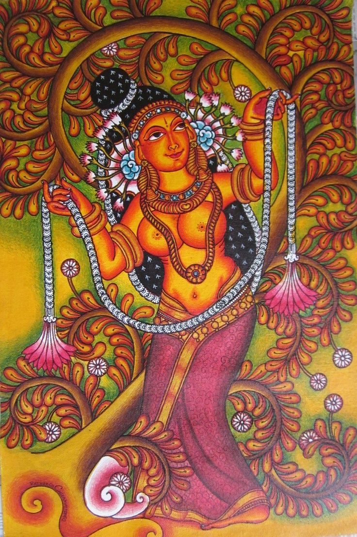 Malini kerala mural painting celestial apsara 39 s for Buy kerala mural paintings online