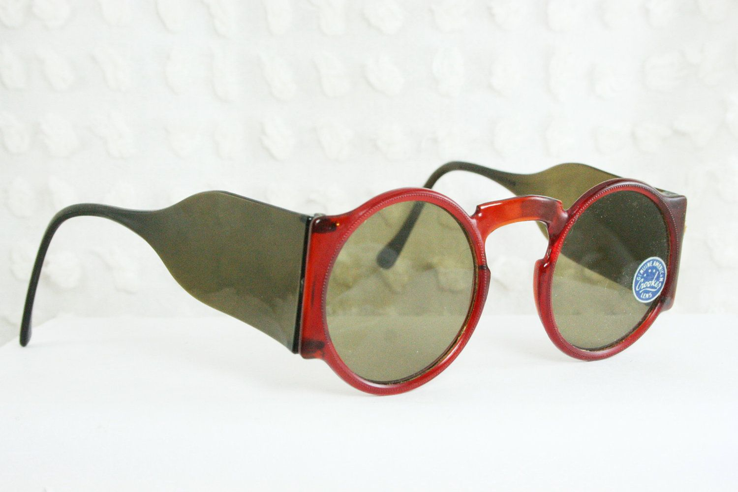 2ca8ea220 Vintage 40s Sunglasses 1930's Round Sunglasses Blinkers Windsor Cognac  Celluloid Side Shield with Authentic Crookes Gray Lens NOS Non Rx. $64.00,  via Etsy.