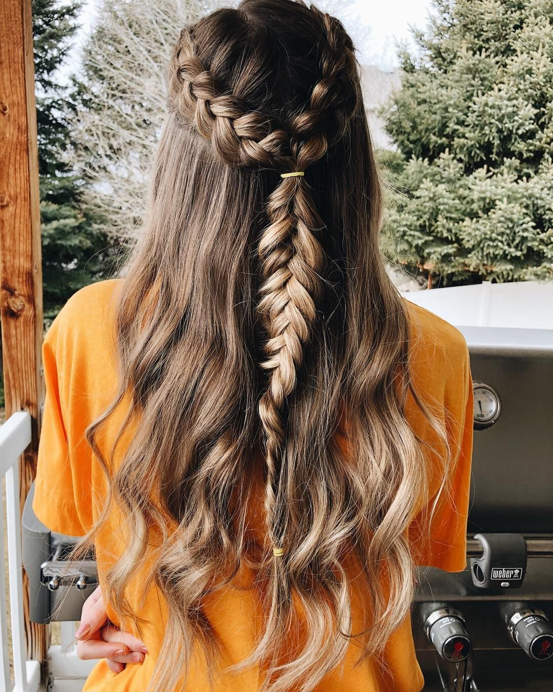 Cute Hairstyles On Instagram Dutch Braids Into Inside Out Fishtail Kinda Like Mine From Yest Fishtail Hairstyles Braids For Long Hair Curly Hair Trends