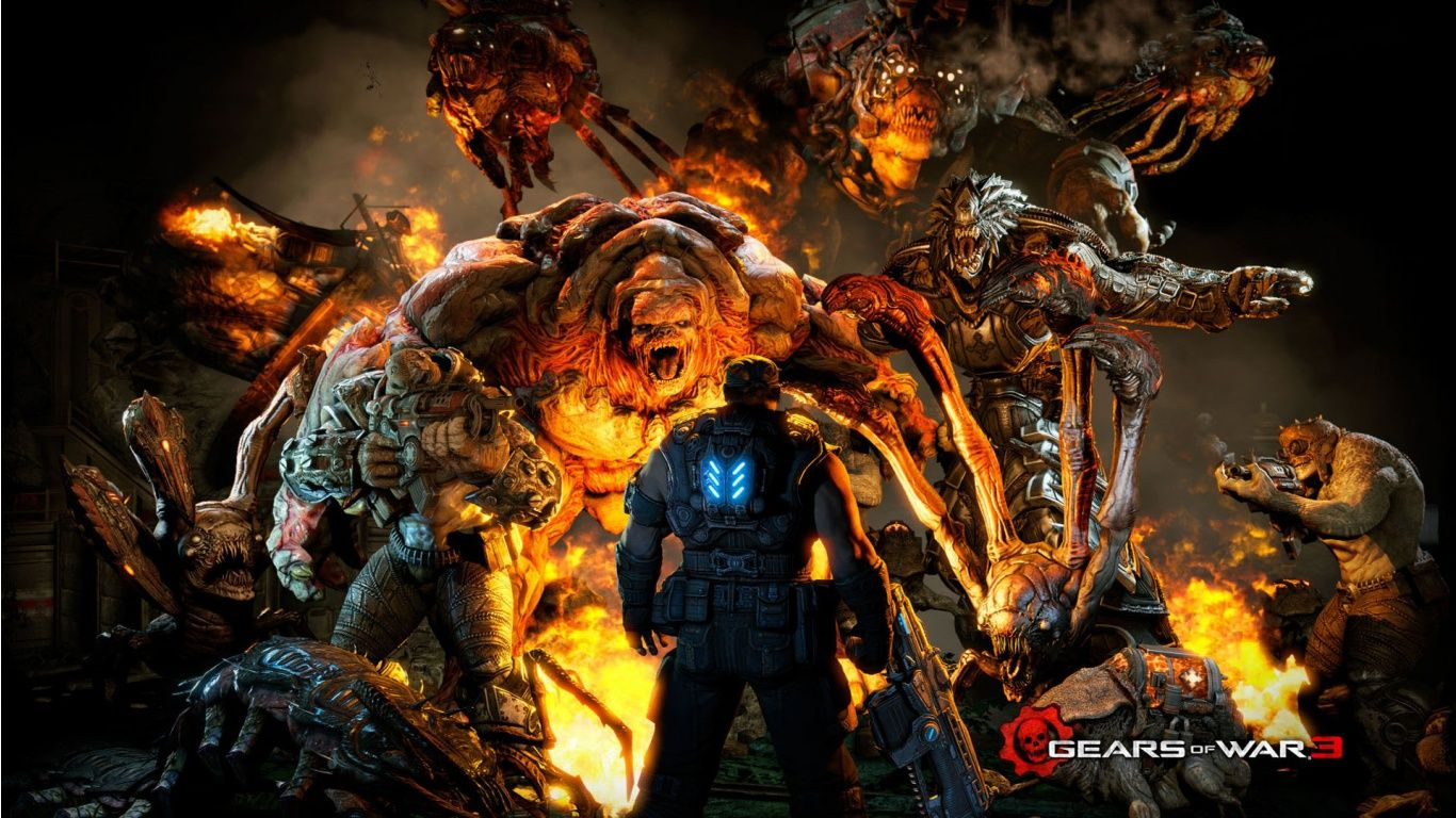 Gears Of War 3 Marcus Fenix Facing A Variety Of Locust Enemies