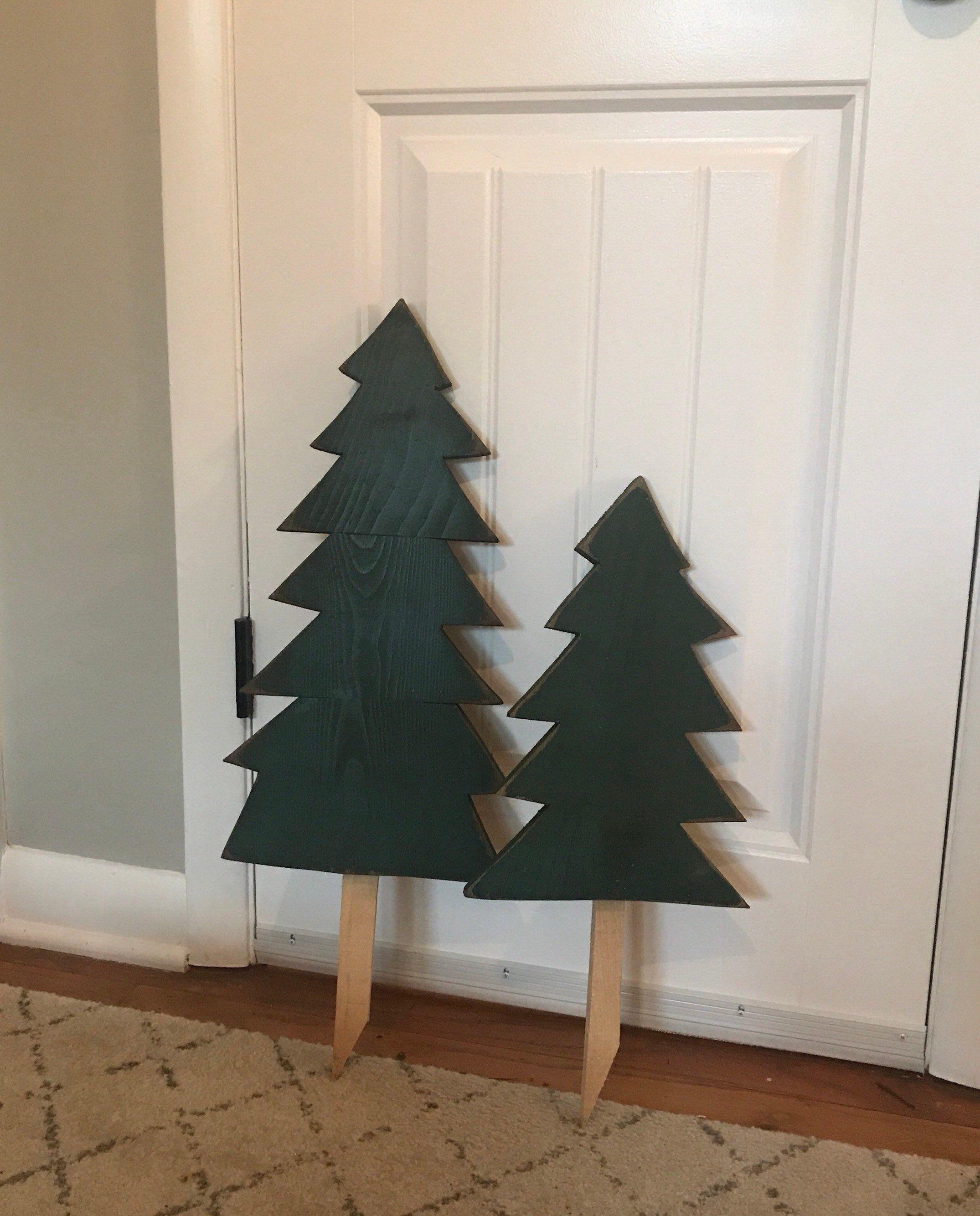 Set Of 2 Reclaimed Wooden Christmas Tree Yard Stakes Etsy Christmas Yard Decorations Wooden Christmas Trees Christmas Tree Yard Stakes